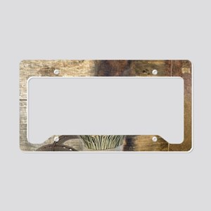 barn wood wheat horseshoe License Plate Holder